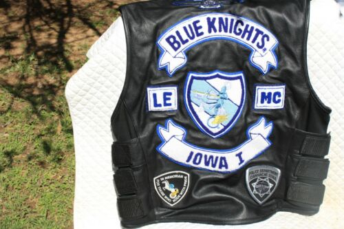 Leather Motorcycle Sleeveless Jacket, Police 1,  sz L Patches Blue Knight St.Leg