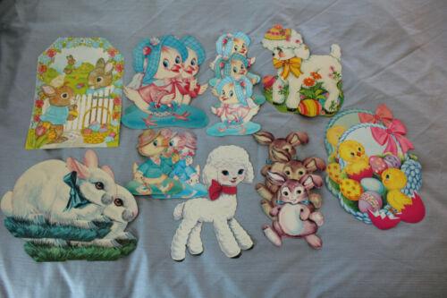 Lot 18 Vintage Eureka Deaton Easter Cardboard Cutouts: Bunnies Chicks Lamb Ducks