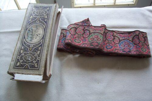 Vtg  Antique Victorian Edwardian Woven Paisley Textile Band  Trim