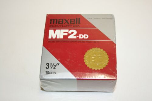 "Maxell MF2DD 3.5"" Floppy Diskette Double Sided/Double Density, Box 10 NOS READ"