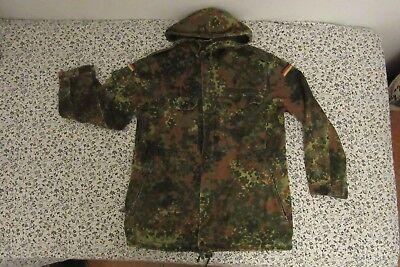 Vintage German Camo Military Jacket Mens  Cotton Twill Zip Up Field Coat