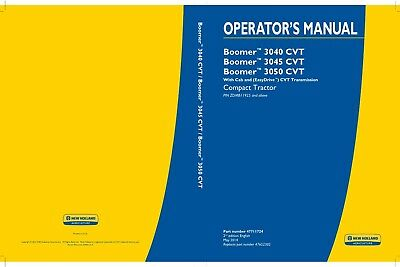 New Holland Boomer 3040 3045 3050 Cvt Compact Tractor With Cab Operators Manual