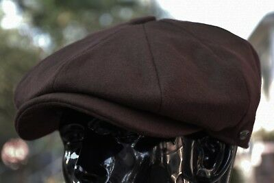 Mens 100% Wool Newsboy Cap, Driving Cabbie Applejack, Stylish Golf Hat Ns1595Brn