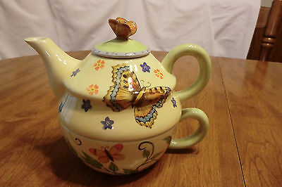 All in One Teapot/Cup Combo in Butterfly and Floral Theme