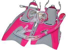 Sea-Doo-Snorkeling-Set-Snorkel-Fins-Mask-Pink-Fins-Size-Mens-4-8-5-Women-5-9-5