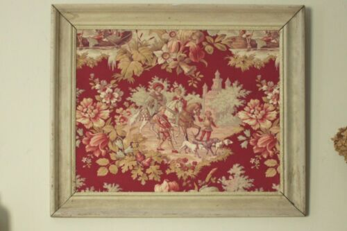 Antique French framed Toile fabric art hanging French country Shabby Chic red
