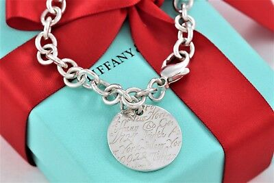"""Tiffany & Co. Sterling Silver Notes Wavy Round Circle Disc 7.5"""" Link Bracelet"""