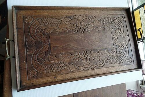 """Antique Tray Carved Dragons Wood Tray 25"""" Service Tray with Handles"""