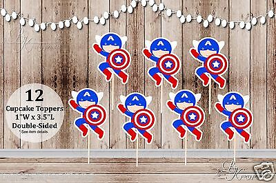 Set of 12 Boy Captain America Inspired Double Sided Cupcake - Captain America Cupcake Toppers