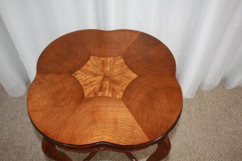 Antique hand carved side table walnut burl veneer top