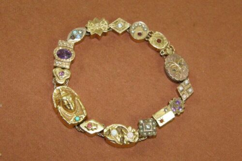 Antique Victorian Slide Charm Bracelet Mostly Solid 14K Gold Charms 4 Gold Fill