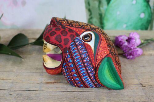 #8 Jaguar Mask Alebrije Detailed Hand Painted Hand Carved Oaxaca Mexico Folk Art