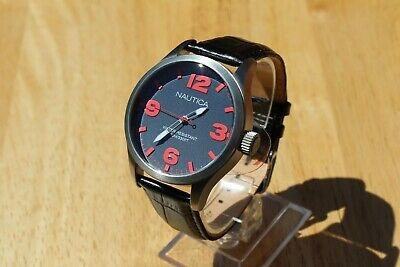 RRP £125. NAUTICA A11559G GENUINE NEW LARGE GENTS STAINLESS 100M WR SCREW CROWN