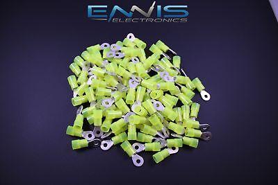 10-12 Gauge Nylon Ring 6 Yellow 25 Pk Crimp Terminal Awg Ga Connector Car