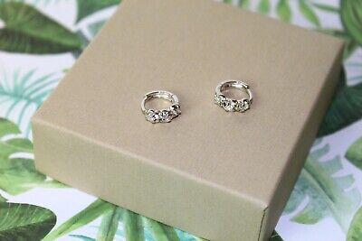 925 Sterling Silver Women Jewelry Small Hoop Elegant Crystal Ear Stud Earrings