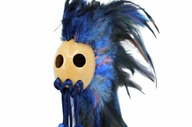 """Ikaika Hawaiian Warrior/Koa Helmet Hanging Car Decor 1"""" Kamani Nut, Blue"""