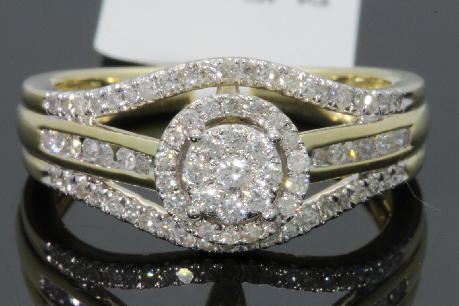 10K SOLID YELLOW GOLD .51 CT REAL DIAMOND WOMEN BRIDAL WEDDI