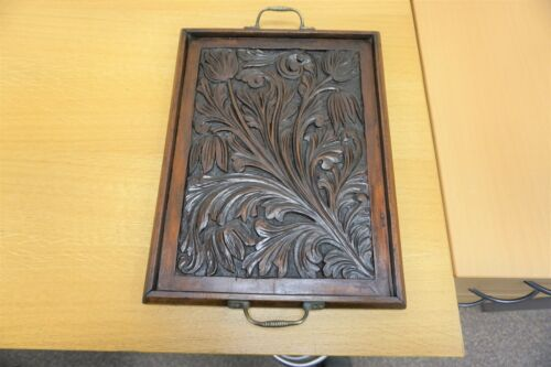 ANTIQUE CARVED PANEL MADE INTO A LAP OR SERVING TRAY