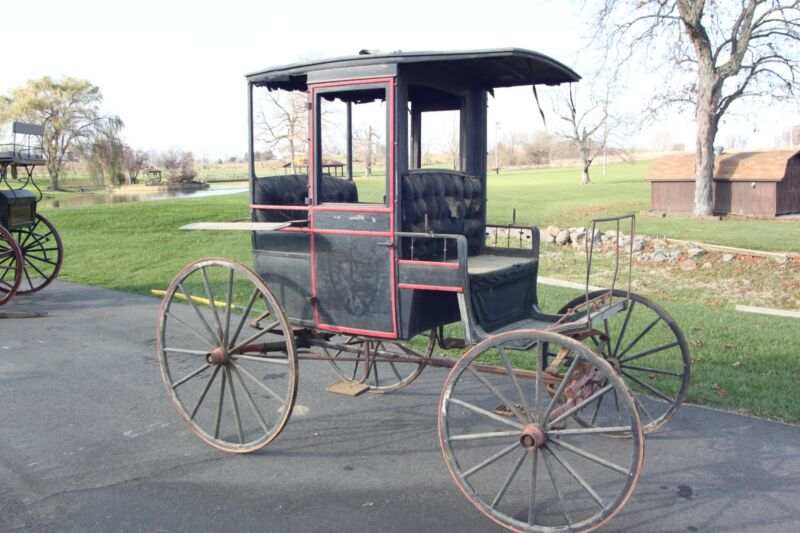 Horse Drawn Rockaway Wagon Buggy Carriage Cart Antique Sleigh
