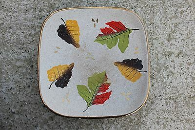 West Germany Mid Century Ceramic Plate with Leaves and Gilded Rim #444 Mid Rim Plate
