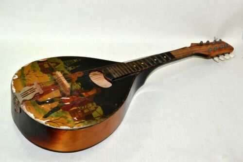 Vintage String Guitar Musical instrument Wooden Mandolin Painting signed 1955