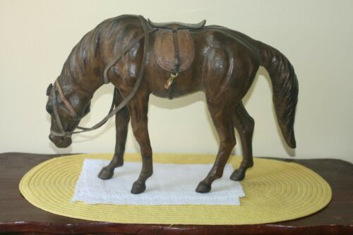 VINTAGE LEATHER WRAPPED HORSE LARGE FIGURINE WITH SADDLE AND REINS