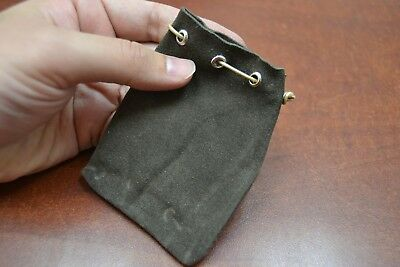 Brown Handmade Drawstring Leather Jewelry Gift Pouches Bags 3 X 4