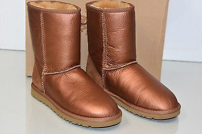 New UGG Uggs Classic Short metallic COOPER Gold Bronze Brown LEATHER  Boots 6