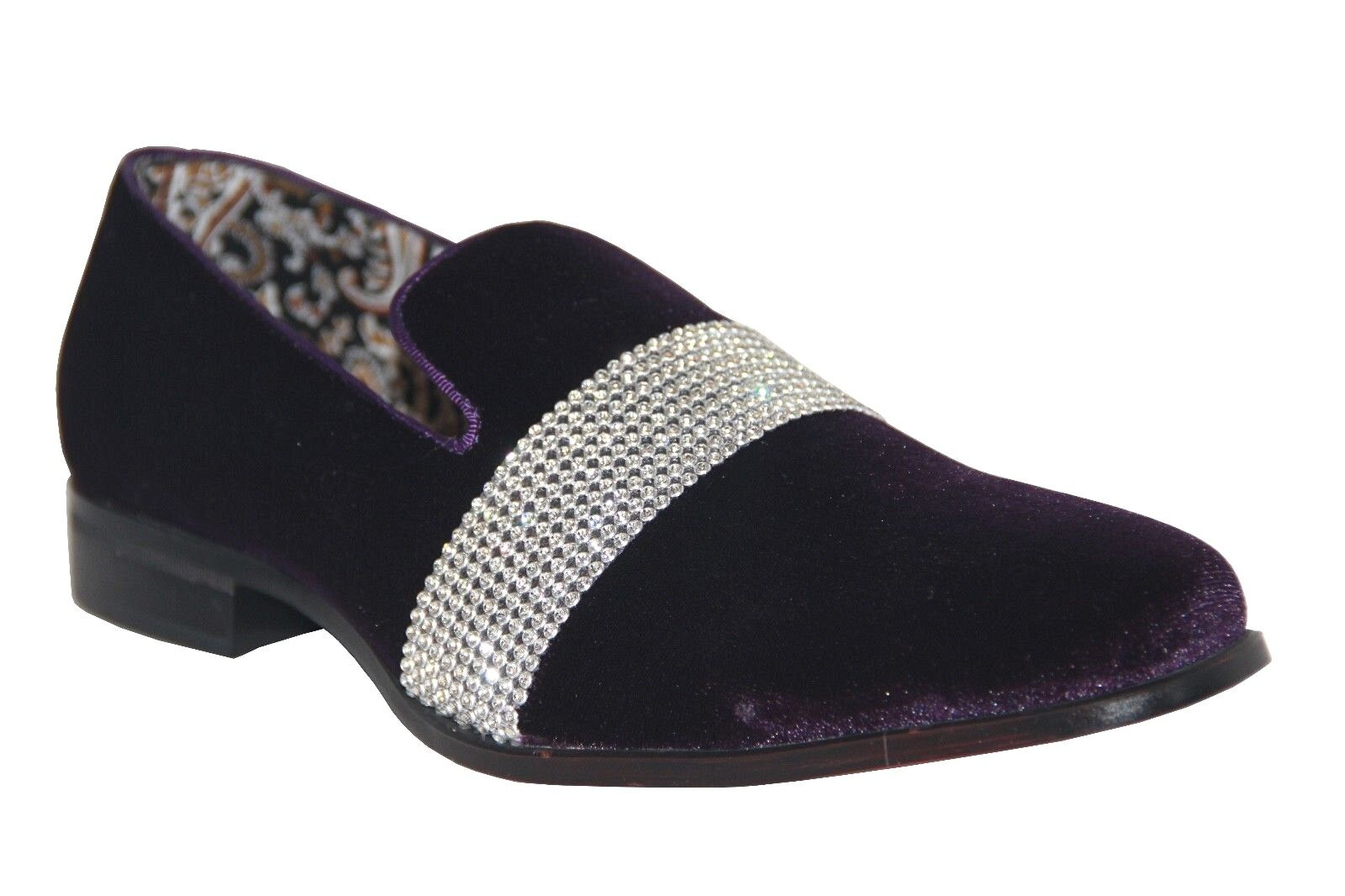 After Midnight Men's Fancy Dress Shoes Purple/Silver Slip On Loafers 6715