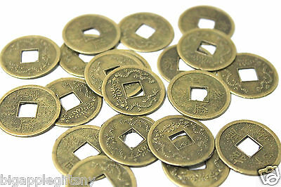 Lot of 20 x LUCKY DOUBLE DRAGON  FENG SHUI COIN for GOOD LUCK  PROTECTION 2.5CM