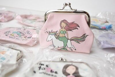 12 X Unicorn Mermaid COIN PURSE PARTY FAVORS PINK RECUERDOS QUINCE HEART SHELLS](Quince Party Favors)