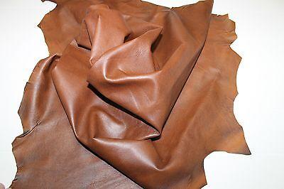 Italian Lambskin leather skin hide skins hides TAN BROWN DISTRESSED 7sqf