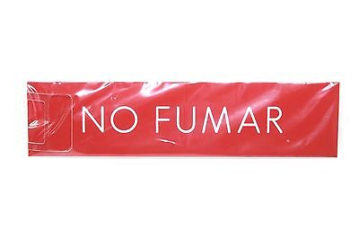 No Fumar No Smoking 8x2 Engraved Red With White Letters Sign