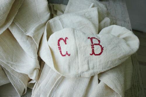 2 Antique French linen sheets HEAVY hemp 10 LBS 83X116 HEAVY fabric CB monogram