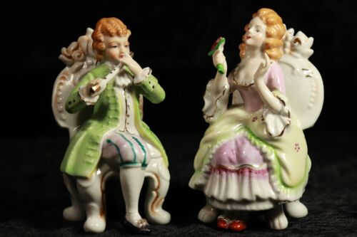 """Andrea by Sadek Boy & Girl Seated &  Courting 5"""" Porcelain Figurines Q75A + Q75B"""
