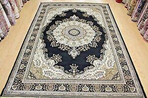 black & cream silk traditional persian oriental design rug