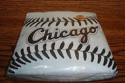 MLB * CHICAGO WHITE SOX Baseball Party-Beverage Napkins #36 Count  * - Baseball Napkins