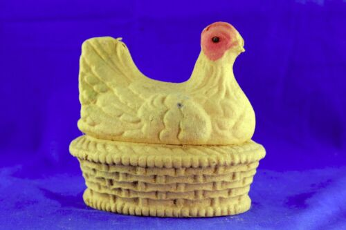 ANTIQUE 1924 DRAKE PROCESS FIBER HEN ON NEST EASTER CANDY CONTAINER