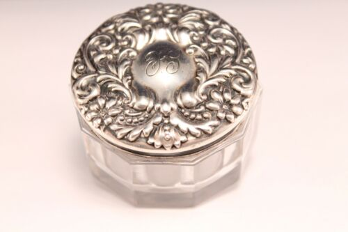 Vintage Sterling Silver Repousse Faceted Vanity Jar