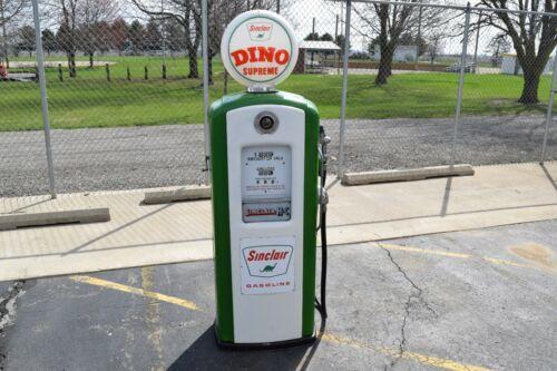 "Antique Bennett 766 Sinclair Dino Supreme Gas Pump w/ Globe (75"" Tall) – Nice!"