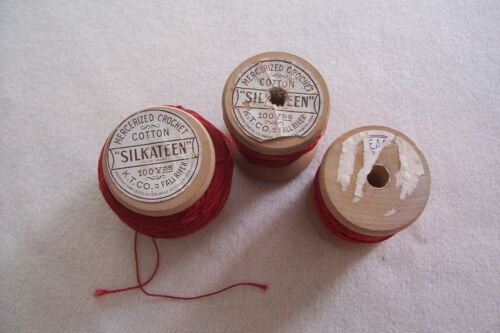 3 Antique Vtg Wooden Spools  Turkey Red Embroidery Tatting Cotton Thread