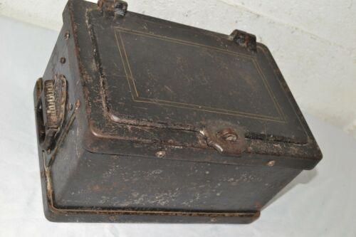 Antique Heavy Cast Iron Strong Box Safe Rare 1800s Stagecoach Wagon Wells Fargo