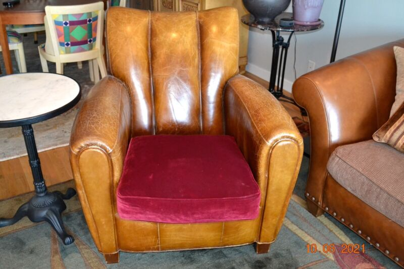 Stickley Chair leather arms authentic vintage styling