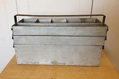 Vintage Primitive Galvanized Metal Fishing Tackle Box