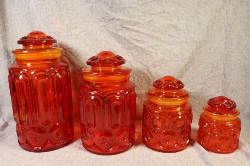"Vintage L E SMITH ""Moon and Stars"" Flame or Ambrenia 4 Piece Canister SeT"