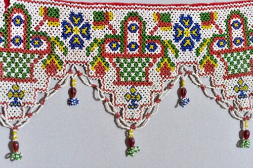 ANTIQUE TORAN HANGING INDIA KUTCH GLASS BEADS TAPESTRY HEAVY