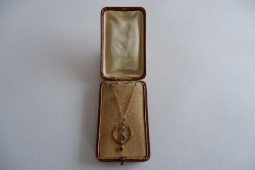SUFFRAGETTE ART NOUVEAU 9CT GOLD PENDANT & 9CT GOLD CHAIN - C1900