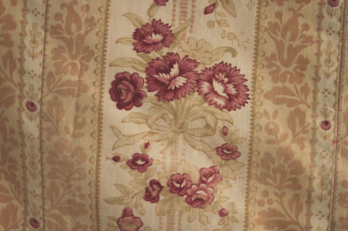 Vintage French printed cotton soft upholstery fabric carnation pattern 1890