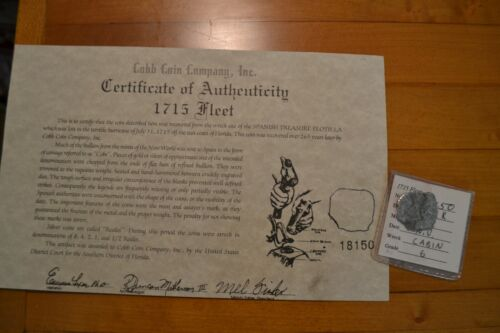 Authentic Shipwreck Artifact Silver Coin Mel Fisher  1715 4 Reale
