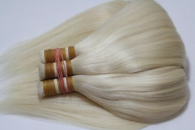 Natural hair extensions, snow-white blond color #60 leight 50cm / 20 inch